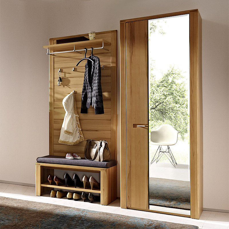 garderoben set kernbuche massiv garderobenpaneel garderobenbank flurm bel diele ebay. Black Bedroom Furniture Sets. Home Design Ideas