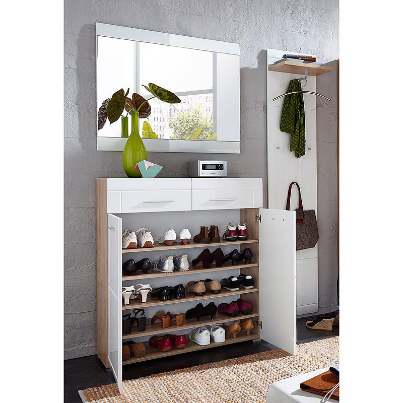 garderoben set hochglanz wei edelbuche schuhschrank flurschrank flurgarderobe ebay. Black Bedroom Furniture Sets. Home Design Ideas