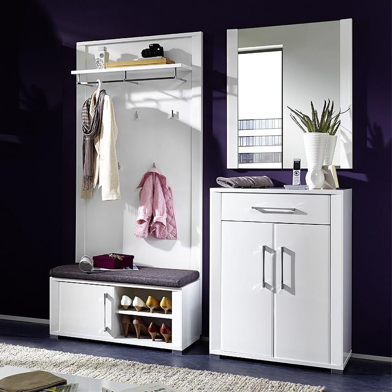 garderoben set hochglanz wei schuhschrank gaderobenpaneel bank garderobenm bel ebay. Black Bedroom Furniture Sets. Home Design Ideas
