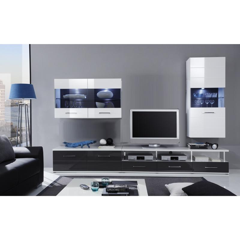 wohnzimmer wohnwand set wei hochglanz anbauwand lowboard fernsehschrank ebay. Black Bedroom Furniture Sets. Home Design Ideas