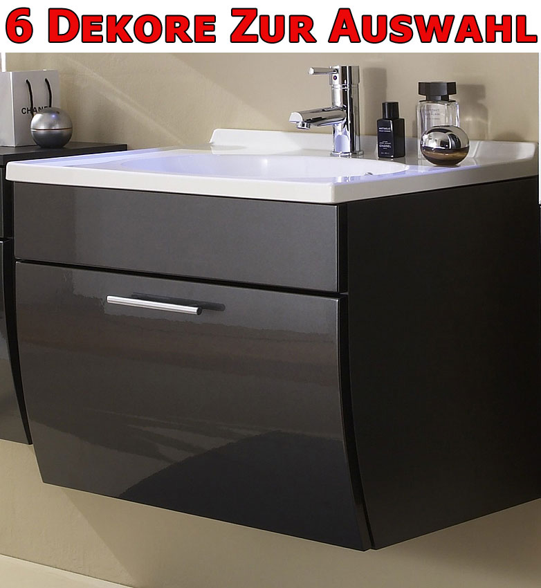 waschplatz mit waschbecken schrank hochglanz anthrazit badezimmer bad badm bel ebay. Black Bedroom Furniture Sets. Home Design Ideas