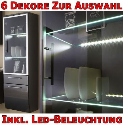 bad hochschrank h ngend glast r led hochglanz anthrazit ebay. Black Bedroom Furniture Sets. Home Design Ideas