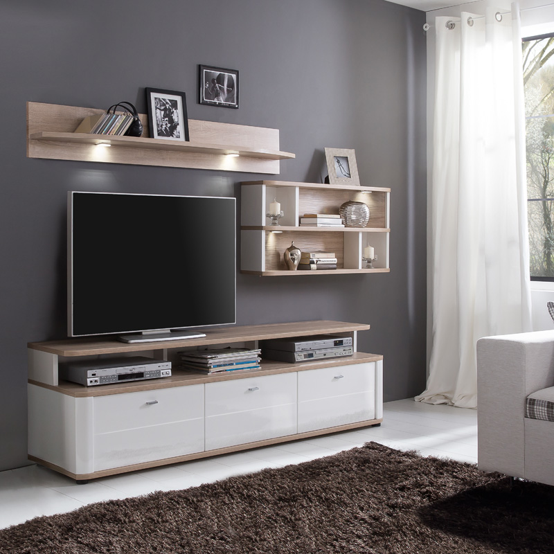 neu wandregal eiche s gerau b cherregal cd dvd regal. Black Bedroom Furniture Sets. Home Design Ideas