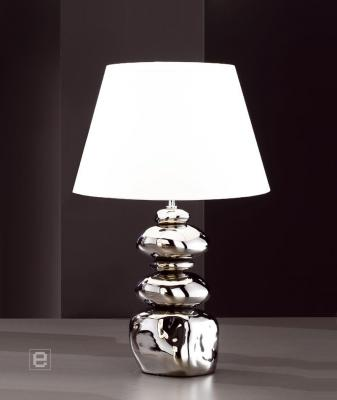keramik tischleuchte nachttischlampe silber wei 5691 ebay. Black Bedroom Furniture Sets. Home Design Ideas