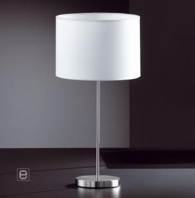 tischleuchte tischlampe edelstahl stoffschirm wei 6611 ebay. Black Bedroom Furniture Sets. Home Design Ideas