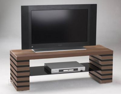 neu lowboard tv schrank hifi rack nussbaum schwarz ebay. Black Bedroom Furniture Sets. Home Design Ideas