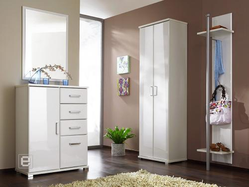 moderne garderobe kleiderschrank kommode spiegel hochglanz 4tlg flur flurm bel ebay. Black Bedroom Furniture Sets. Home Design Ideas