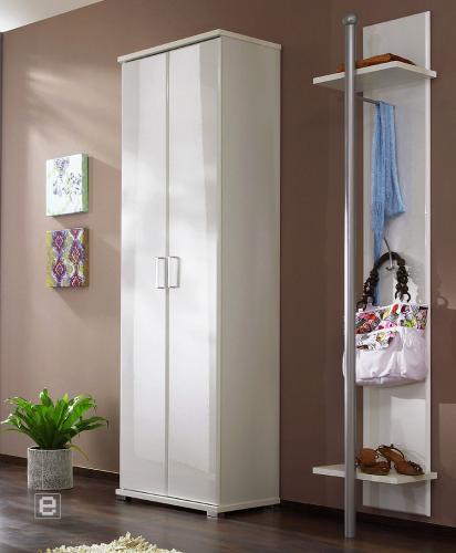 2tlg garderobe kleiderschrank paneel hochglanz weiss ebay. Black Bedroom Furniture Sets. Home Design Ideas