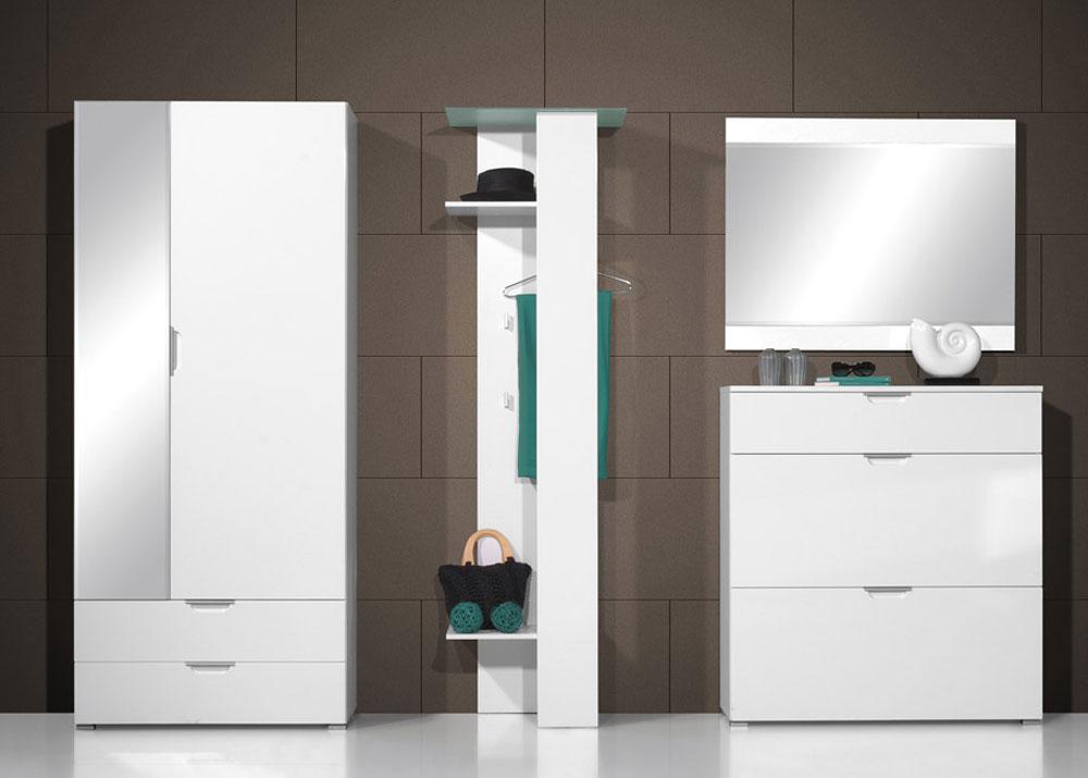 neu 4tlg hochglanz flur garderobe schuhschrank kleiderschrank dielenm bel weiss ebay. Black Bedroom Furniture Sets. Home Design Ideas
