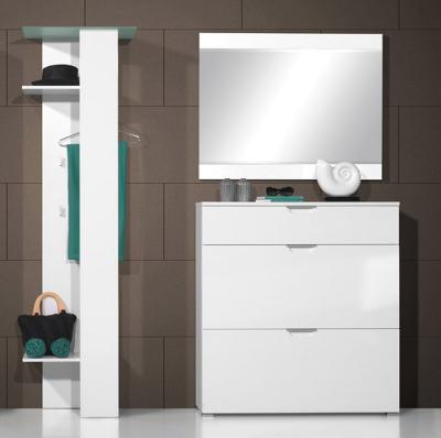 neu 3tlg flur garderobe hochglanz weiss schuhschrank garderoben set dielenm bel ebay. Black Bedroom Furniture Sets. Home Design Ideas