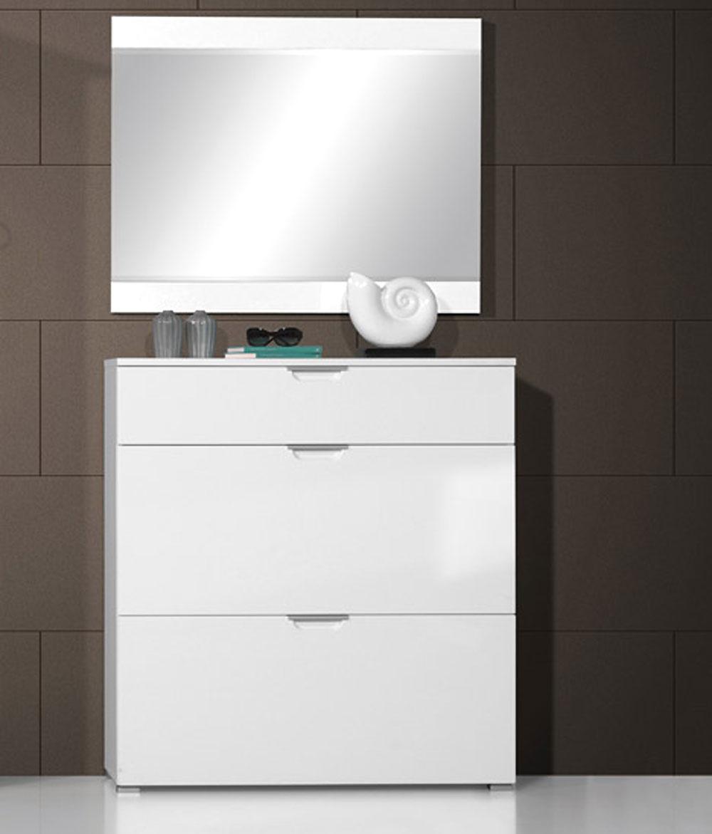 neu 2tlg garderobe hochglanz schuhschrank spiegel garderoben set dielenm bel ebay. Black Bedroom Furniture Sets. Home Design Ideas