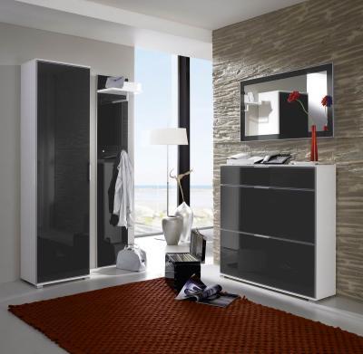 neu garderobe flurm bel aus glas wei anthrazit 4tlg ebay. Black Bedroom Furniture Sets. Home Design Ideas
