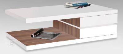 couchtisch beistelltisch wei nussbaum drehbare platte ebay. Black Bedroom Furniture Sets. Home Design Ideas