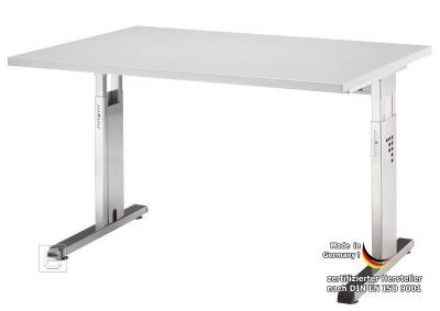 neu 120cm hammerbacher b ro schreibtisch arbeitstisch h henverstellbar lichtgrau ebay. Black Bedroom Furniture Sets. Home Design Ideas