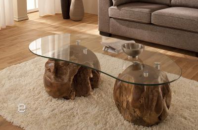 Neu glastisch couchtisch wohnzimmertisch massiv teak ebay for Glastisch wohnzimmertisch