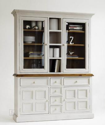top edler buffetschrank highboard vitrine in wei honig landhaus design neu ebay. Black Bedroom Furniture Sets. Home Design Ideas