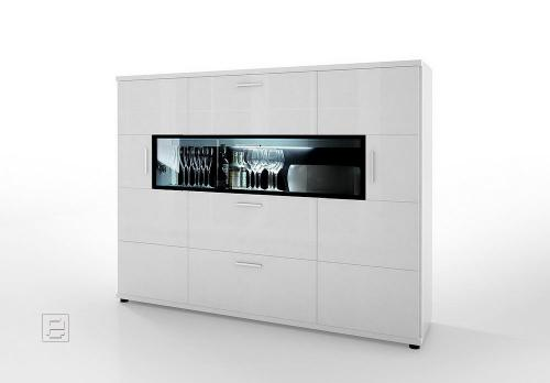 hochglanz highboard in weiss sideboard vitrine wohnzimmer wohnwand buffet ebay. Black Bedroom Furniture Sets. Home Design Ideas