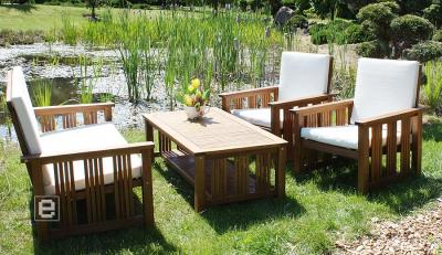gartenm bel lounge sitzgruppe 4tlg set akazie massiv ebay. Black Bedroom Furniture Sets. Home Design Ideas