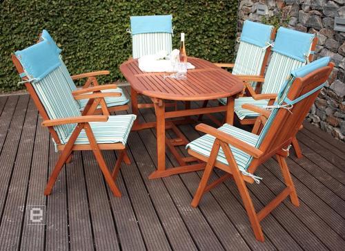 19tlg tischgruppe sitzgruppe ausziehtisch gartenmoebel eukalyptus hochlehner. Black Bedroom Furniture Sets. Home Design Ideas