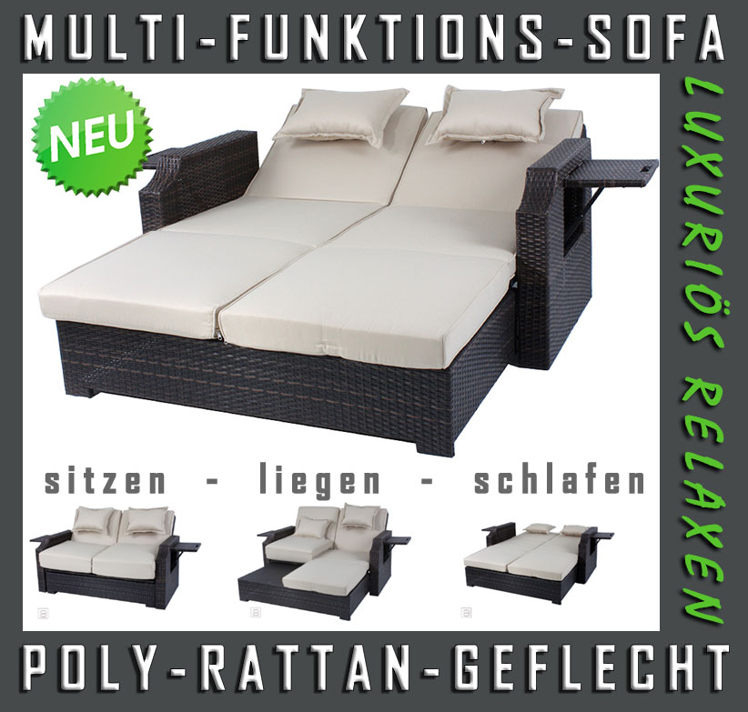 neu 2 sitzer rattan lounge funktionssofa schlafsofa gartenm bel rattanliege ebay. Black Bedroom Furniture Sets. Home Design Ideas