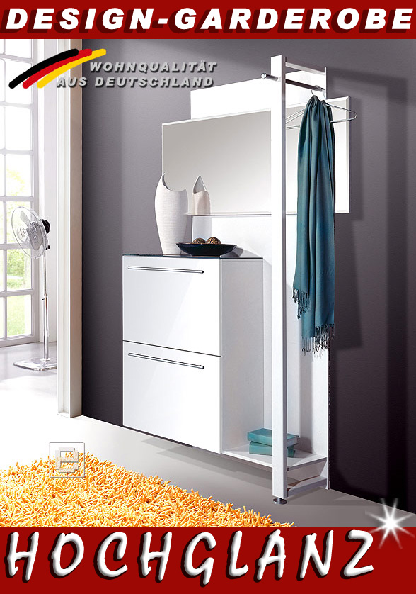 neu design hochglanz garderobe set schuhschrank spiegel weiss top ebay. Black Bedroom Furniture Sets. Home Design Ideas