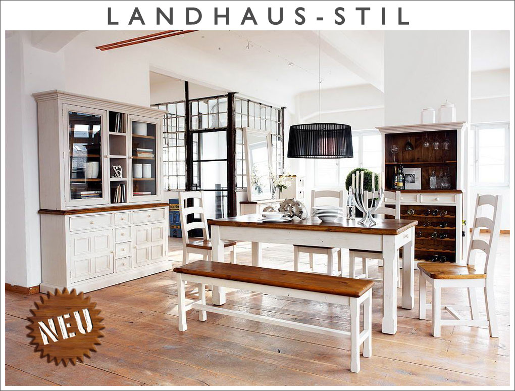 Neu 11 tlg esszimmer set landhausstil massiv wei for Esstisch landhausstil