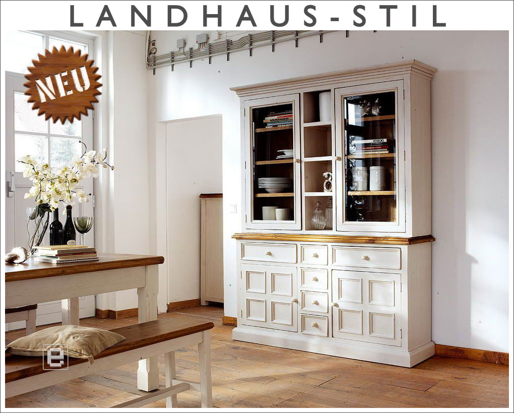 neu massives buffet highboard k chenbuffet vitrinenschrank im landhausstil wei ebay. Black Bedroom Furniture Sets. Home Design Ideas