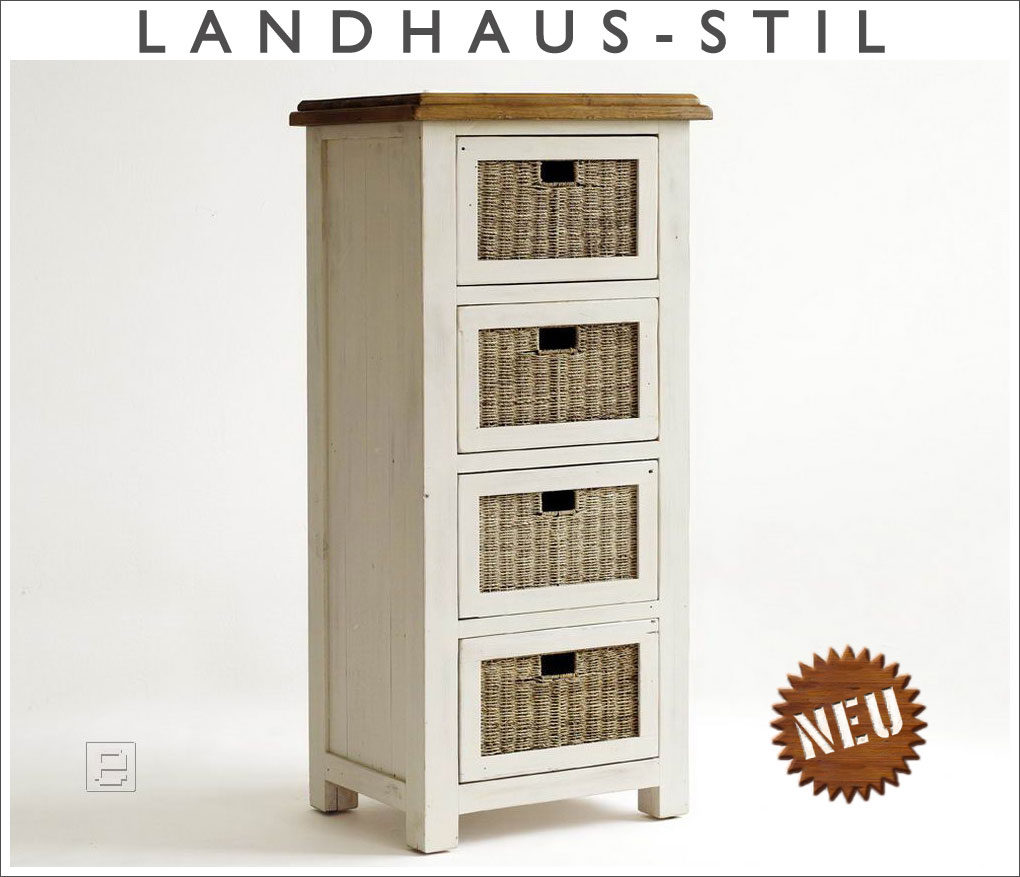 neu kommode mit rattank rben anrichte kiefer massiv weiss lasiert im usedlook eur 449 00. Black Bedroom Furniture Sets. Home Design Ideas