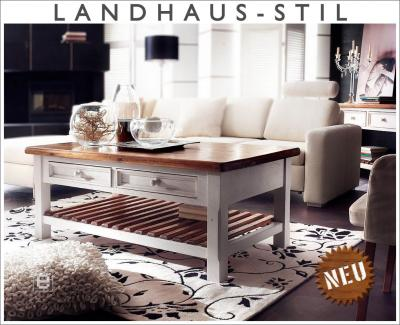 neu edler couchtisch wohnzimmertisch beistelltisch landhausstil weiss honig ebay. Black Bedroom Furniture Sets. Home Design Ideas