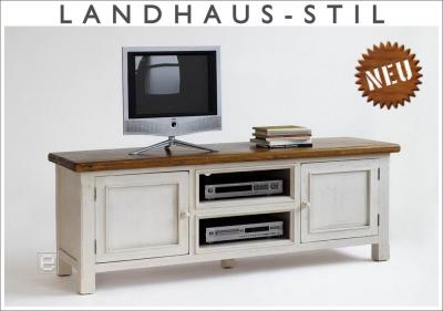 neu lowboard tv tisch tv kommode tv schrank kiefer massiv weiss lasiert honig ebay. Black Bedroom Furniture Sets. Home Design Ideas