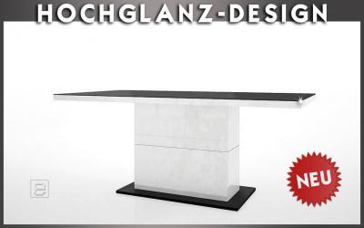 neu design hochglanz esstisch weiss schwarz esszimmertisch 180 230cm ebay. Black Bedroom Furniture Sets. Home Design Ideas