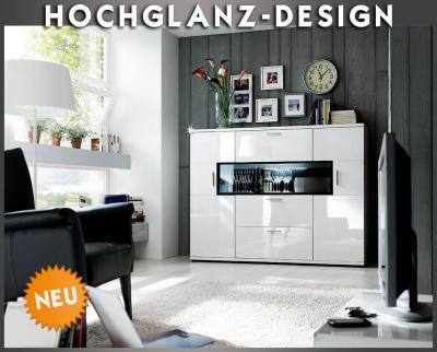 Neu* Hochglanz Highboard In Weiss Sideboard Vitrine Wohnzimmer