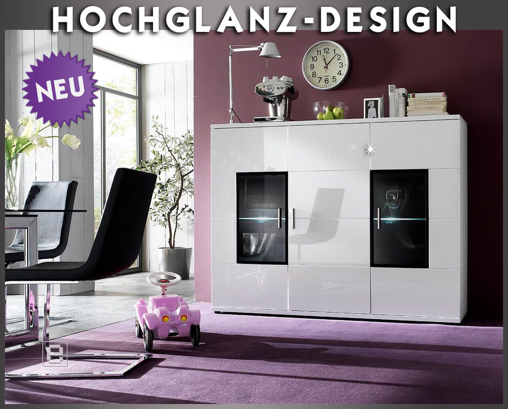 neu hochglanz highboard in weiss buffet sideboard vitrine wohnzimmer wohnwand ebay. Black Bedroom Furniture Sets. Home Design Ideas