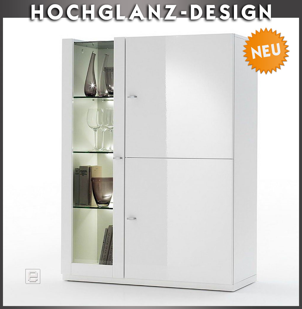 neu highboard hochglanz weiss sideboard vitrine vitrinenschrank wohnwand buffet ebay. Black Bedroom Furniture Sets. Home Design Ideas