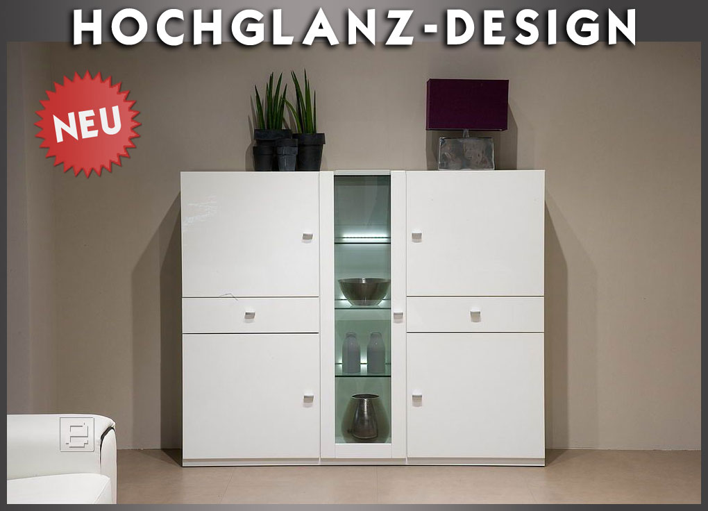 neu modernes hochglanz highboard weiss sideboard vitrine. Black Bedroom Furniture Sets. Home Design Ideas