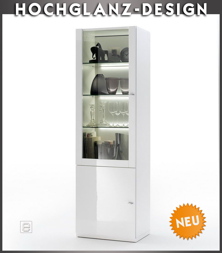 neu moderne hochglanz vitrine weiss vitrinenschrank buffetschrank regalvitrine ebay. Black Bedroom Furniture Sets. Home Design Ideas