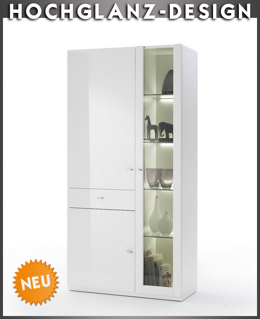 neu edler vitrinenschrank in hochglanz weiss vitrine buffet kombivitrine regal ebay. Black Bedroom Furniture Sets. Home Design Ideas