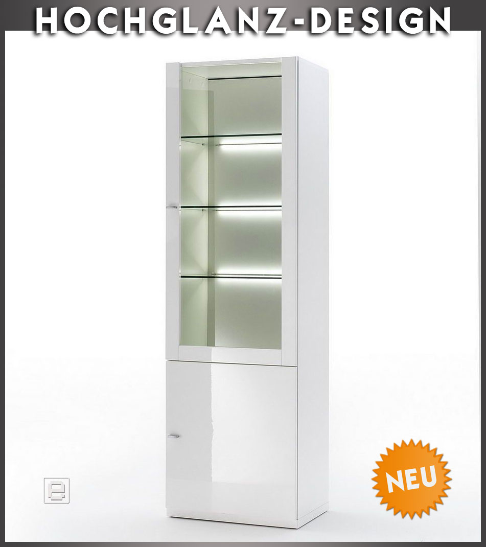 neu edler vitrinenschrank hochglanz weiss vitrine buffetschrank regalvitrine ebay. Black Bedroom Furniture Sets. Home Design Ideas