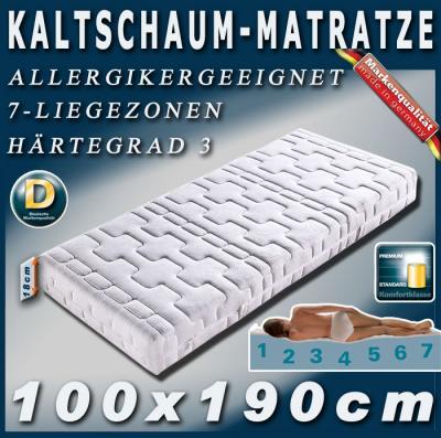 neu 7 zonen kaltschaum matratze matratzen 100x190cm hg3 ebay. Black Bedroom Furniture Sets. Home Design Ideas