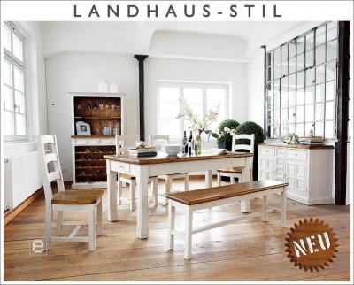 neu 8 tlg esszimmer set landhausstil massiv wei highboard esstisch st hle ebay. Black Bedroom Furniture Sets. Home Design Ideas