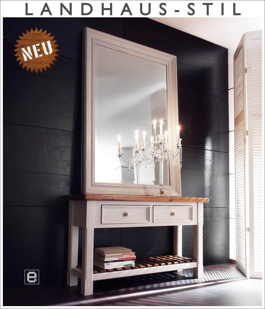 neu 2tlg landhaus garderobe anrichte spiegel flurm bel set massiv weiss ebay. Black Bedroom Furniture Sets. Home Design Ideas