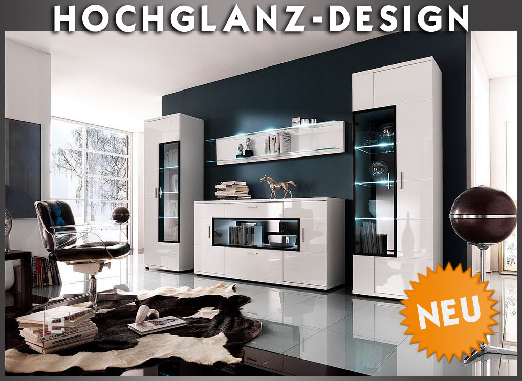 moderne design anbauwand wohnzimmer schrank sideboard highboard in 12 farben ebay. Black Bedroom Furniture Sets. Home Design Ideas