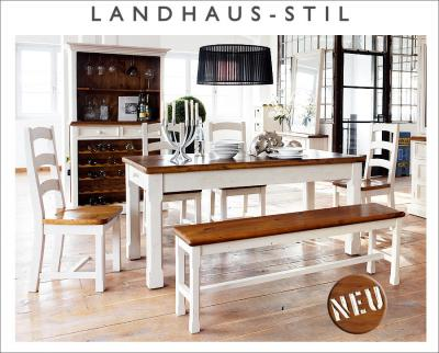 neu 7 tlg esszimmer set landhausstil massiv wei esstisch buffet weinregal ebay. Black Bedroom Furniture Sets. Home Design Ideas