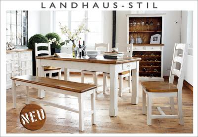 neu 6 tlg esszimmer set landhausstil kiefer massiv wei lasiert esszimmertisch ebay. Black Bedroom Furniture Sets. Home Design Ideas