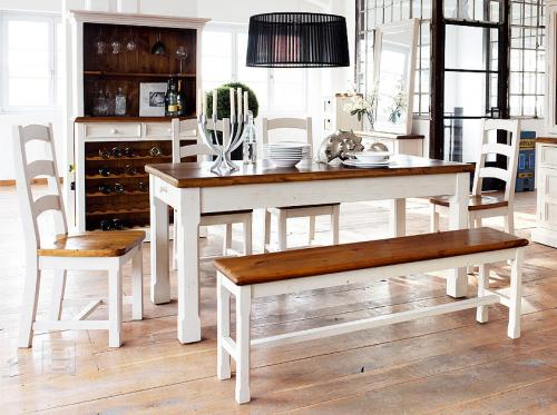 top edles esszimmer set im landhaus design inkl buffet wei honig 7tlg neu ebay. Black Bedroom Furniture Sets. Home Design Ideas