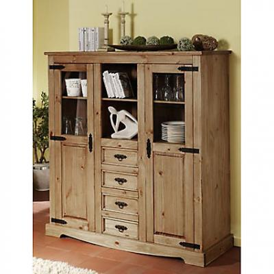 highboard anrichte schrank vitrine kiefer massiv antik ebay. Black Bedroom Furniture Sets. Home Design Ideas