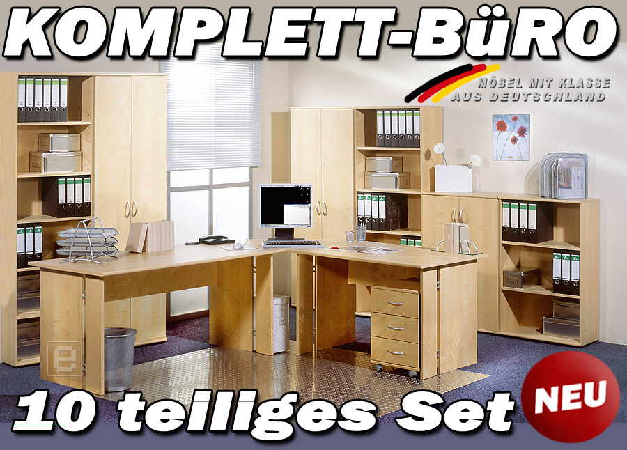 neu 10 tlg komplett b ro b rom bel schreibtisch aktenschrank aktenregale ahorn ebay. Black Bedroom Furniture Sets. Home Design Ideas