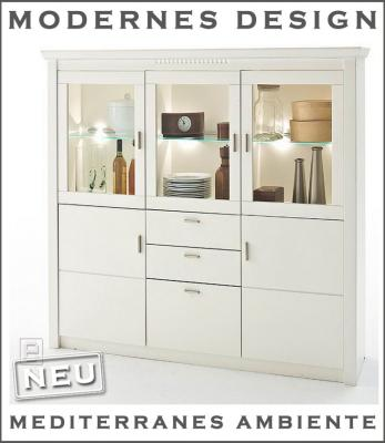 edles landhaus vitrinen highboard buffet sideboard wei ebay. Black Bedroom Furniture Sets. Home Design Ideas