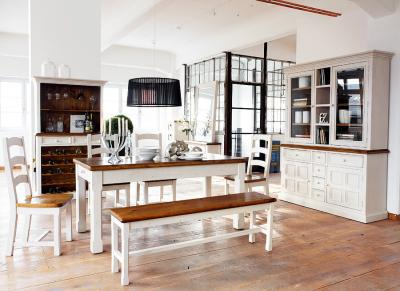 Esszimmer landhausstil massiv  NEU* 8-tlg Esszimmer Set Landhausstil massiv weiß Highboard ...