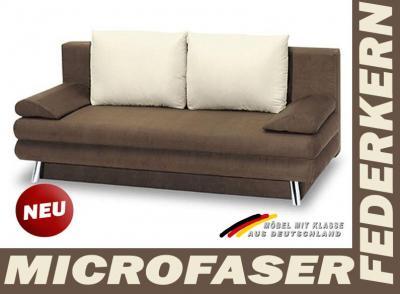 neu 2er couch schlafsofa bettsofa funktionssofa nougat ebay. Black Bedroom Furniture Sets. Home Design Ideas